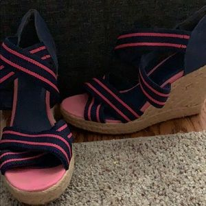 Navy and pink espadrille wedges